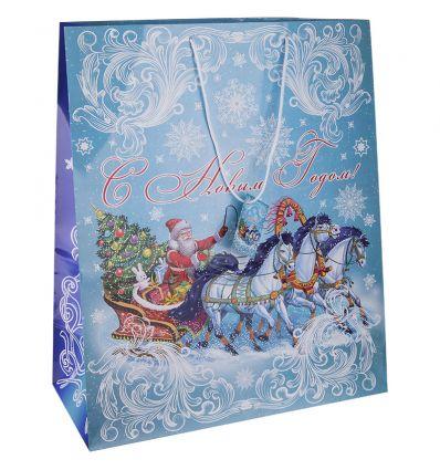 "Пакет бумажный ""Дед Мороз на тройке"", 40,6x48,9x19 см"