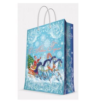 "Пакет бумажный ""Дед Мороз на тройке"", 17,8x22,9x9,8 см"