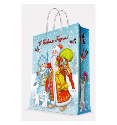 """Пакет бумажный """"Дед Мороз, снегурочка и зайцы"""", 26x32,4x12,7 см"""