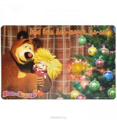 """Подложка на стол Маша и Медведь """"С елкой"""", 44 см х 29 см"""